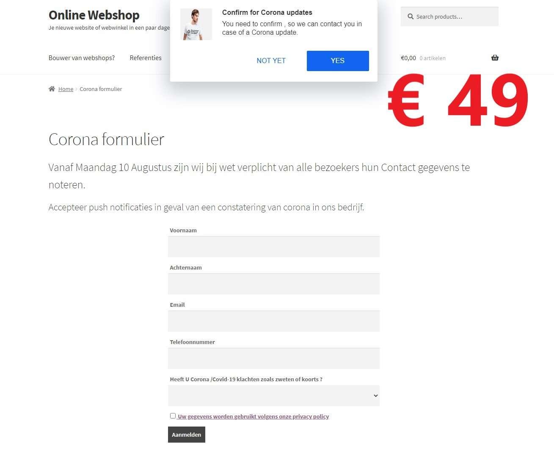 € 49 Corona Formulier voor de horeca. Klik voor grotere afbeelding.